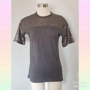 ASOS Gray sequins short sleeve shirt
